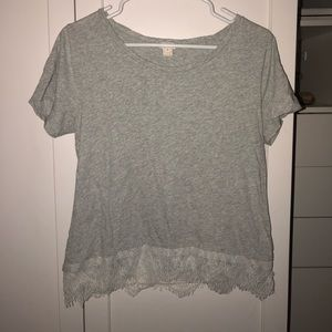 gray short sleeve top w/ lace bottom